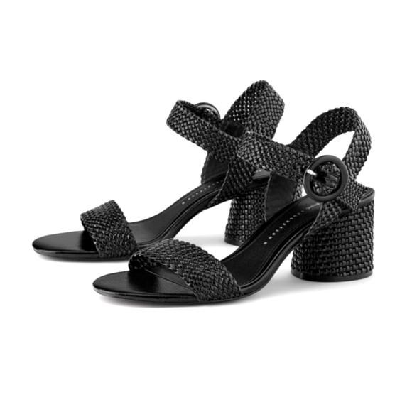 NWOT Zara - Black Woven Sandals - Chunky Heel - 40